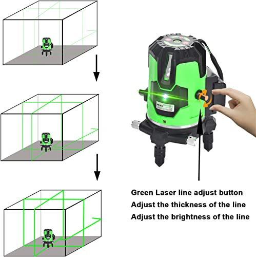 Multi-Line Green Beam Laser Level – Automatic Self-leveling laser 4 Vertical 1 Horizontal Lines with Down Plumb Dot,Laser line Thickness and Brightness Adjustable,360 Rotating Base,Tilt Pulse Mode