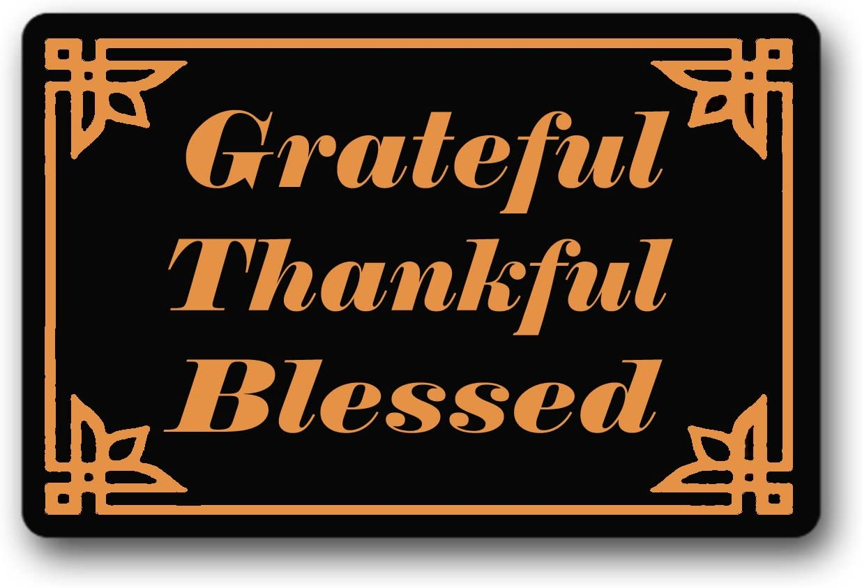 BXBCASEHOMEMAT Grateful Thankful Blessed Door Mat Indoor Outdoor Funny Doormat Machine Washable Doormat For Patio Front Door 18 x 30