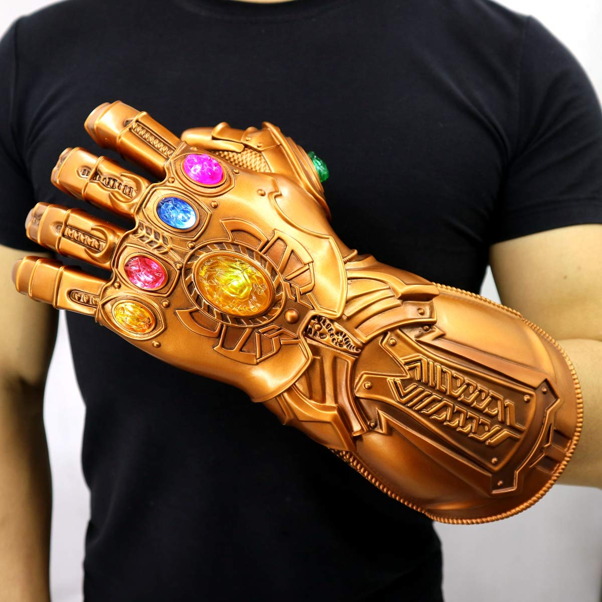 Bulex New Version Infinity Gauntlet LED Light PVC Thanos Gloves for Halloween Props (LED Gems Separable, Adult) by Bulex (Image #2)