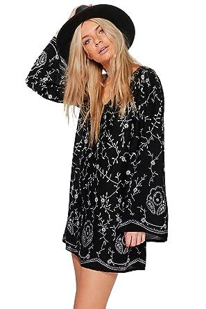 e9dcfbdbd16 Femmes Noir Madeleine robe chemise brodée - 16  Amazon.fr  Vêtements ...