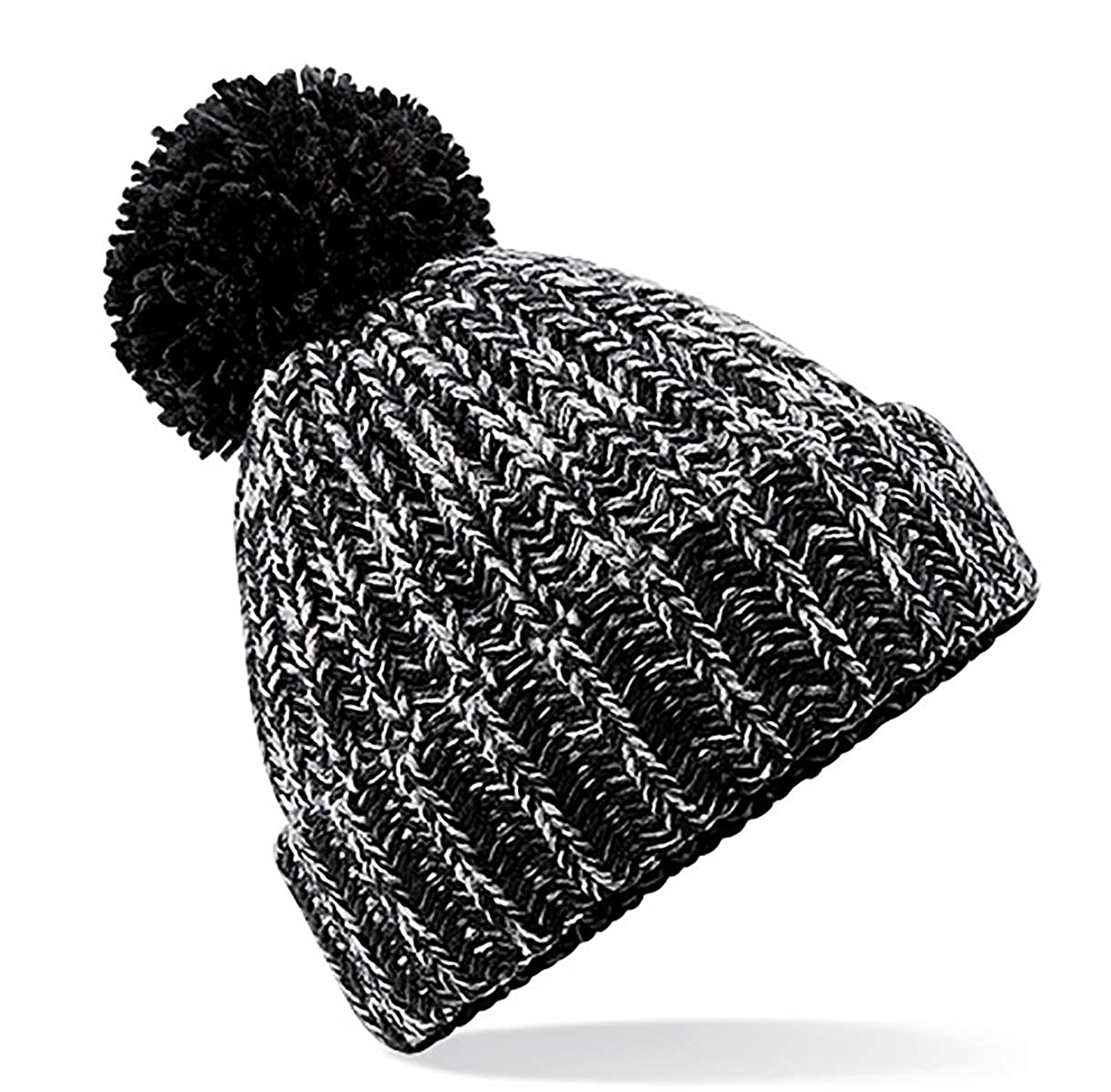 ad734d5e326 4sold Mens Womens Beanie Warm Winter Corkscrew Cable Knitted Bobble Hat  Plain Ski Pom Wooly Cap (One Size