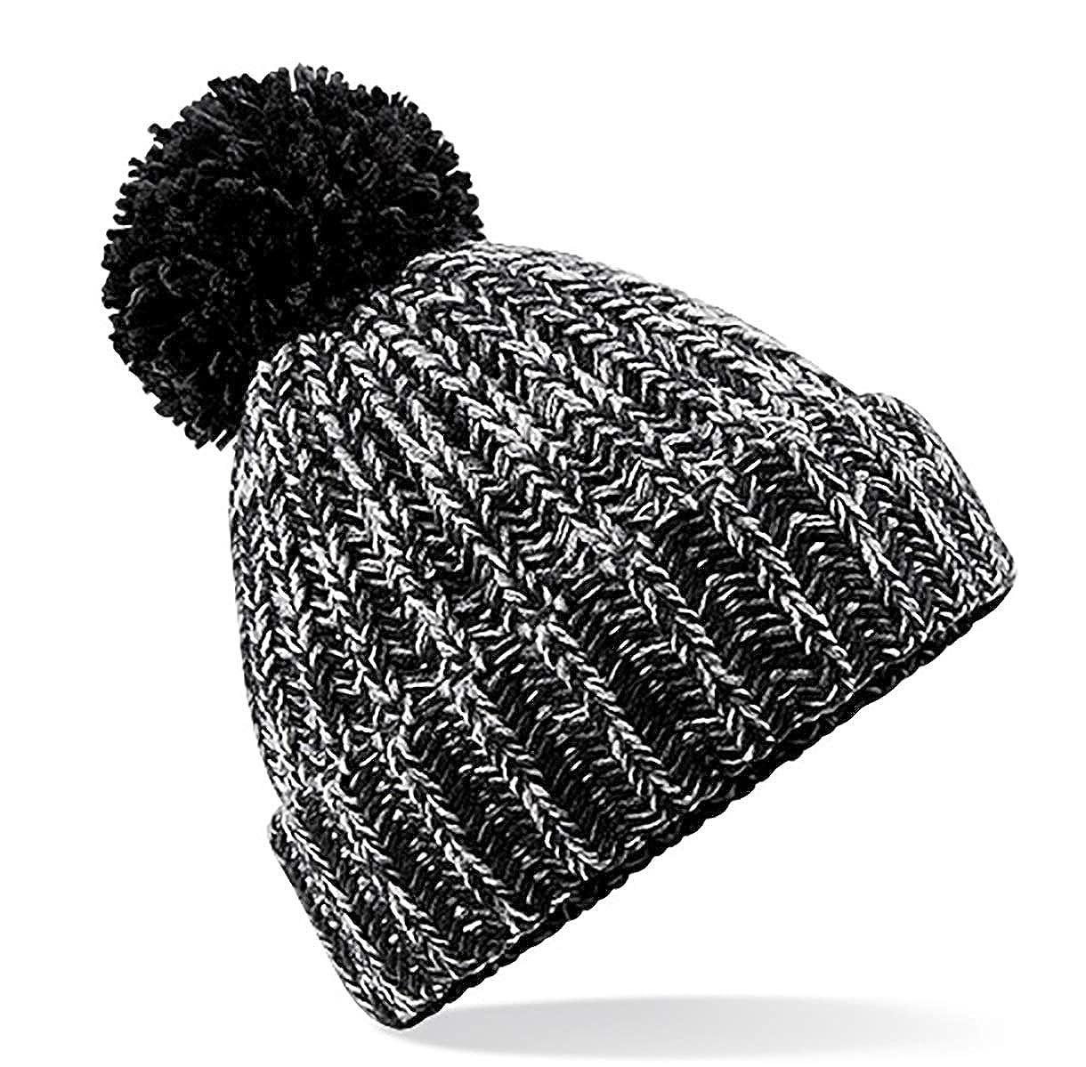 86c39de56c9 4sold Mens Womens Beanie Warm Winter Corkscrew Cable Knitted Bobble Hat  Plain Ski Pom Wooly Cap (One Size