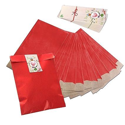 10 bolsas pequeñas bolsas de papel Plano rojas 17,5 x 21,5 ...