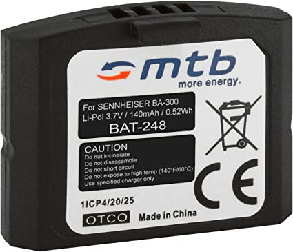 Batería BA 300 para Auriculares inalámbricos Sennheiser RI 410 (IS 410), RI 830 (Set 830 TV), RI 830 S, RI 840 (Set 840 TV), RI 900, RR 4200. v.
