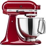 KitchenAid Artisan 5KSM150PSDER 10 Speed 4.7 Litre (5Qt) 300 Watt Tilt Head Stand Mixer with Flat Beater, Dough Hook, Whisk, Stainless Steel Bowl & Pouring Shield (Empire Red)
