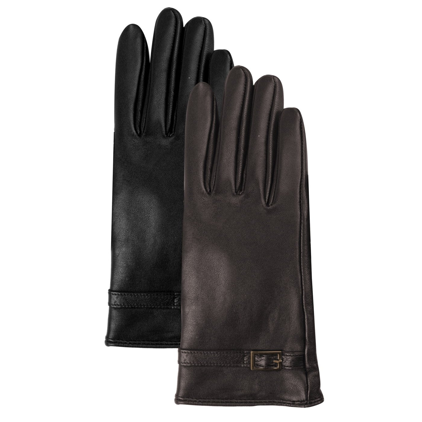 Luxury Lane Women's Cashmere Lined Lambskin Leather Gloves with Buckle - Chocolate Medium