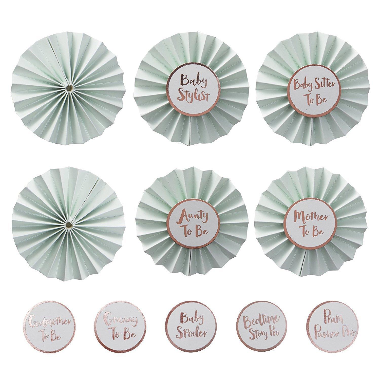 Buttons f/ür Baby Shower Party Inhalt pro Set 6 Buttons /& 9 Sticker mit lustigen Spr/üchen