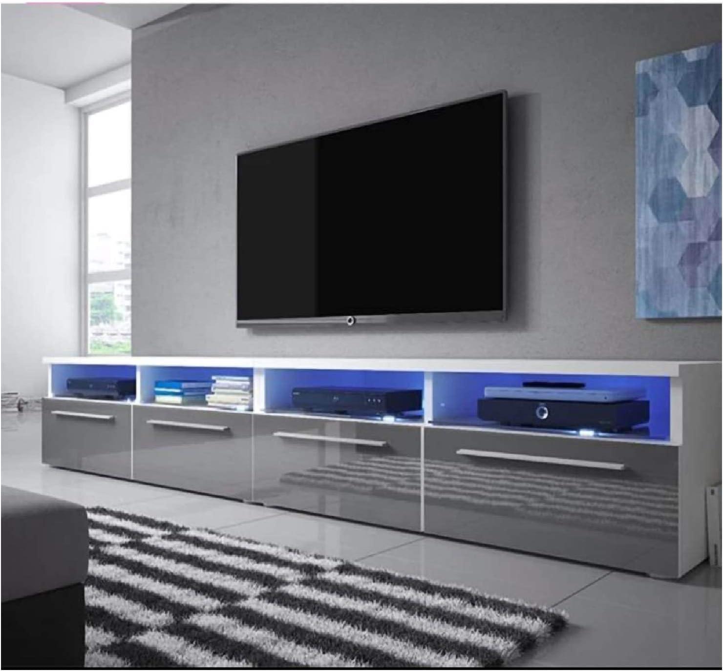 Tv Unit Cabinet Tv Stand Matt Body High Gloss Doors Blue Light Tv Living Room Entertainment Center Media Kitchen Dining