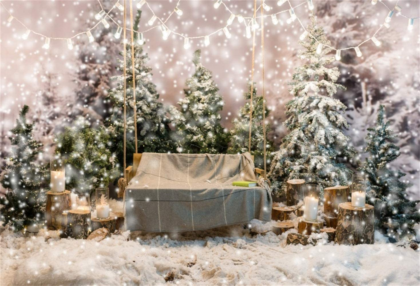 Dreamlike Christmas Theme Backdrop Vinyl 10x7ft Snowy Pine Forest Frosty Trees Swing Cloth Book Candles Light Decorations Background Xmas Party Banner Child Kids Baby Portrait Shoot
