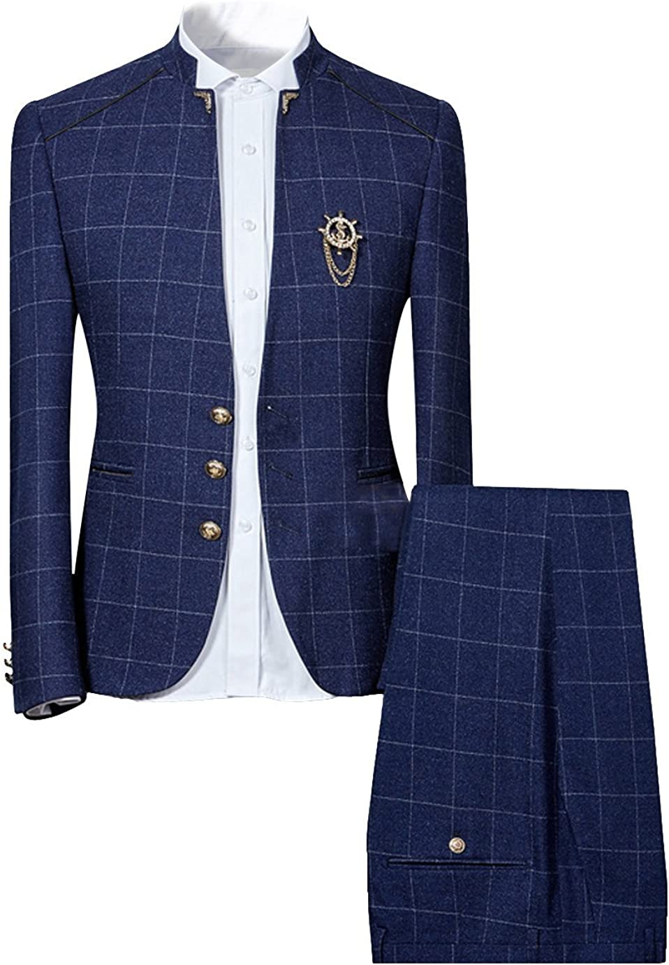 Mens Plaid Slim Fit Checked Suits 2 Piece Vintage Jacket and Trousers