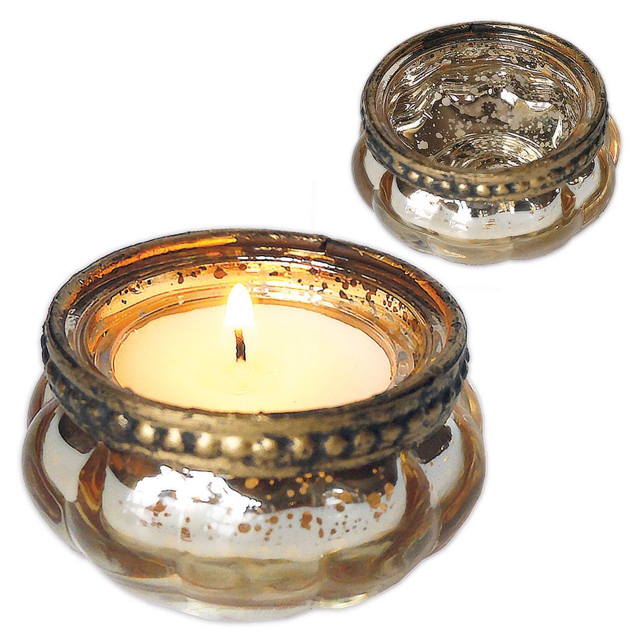 Gold Charcasa Glas-Teelichthalter im Vintage Look 4er-Set