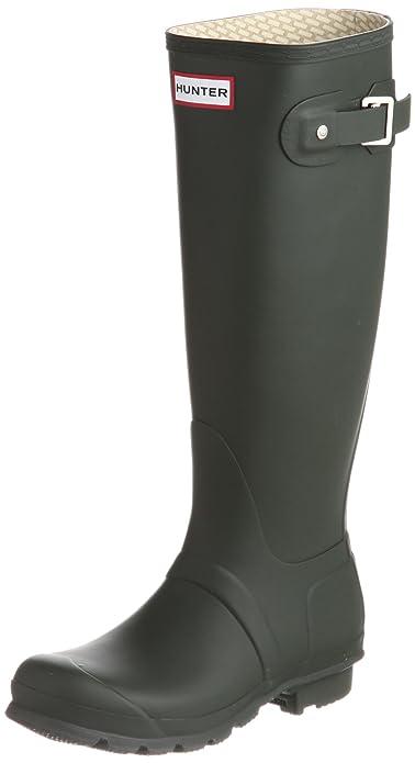 Amazon.com | Hunter Original Tall Women Round Toe Synthetic Green ...