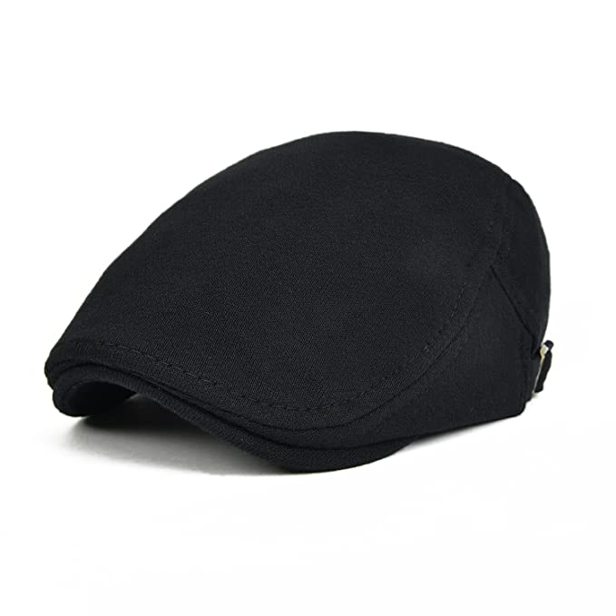 VOBOOM Men s Cotton Flat Ivy Gatsby Newsboy Driving Hat Cap (Black ... c7a5bf5598a
