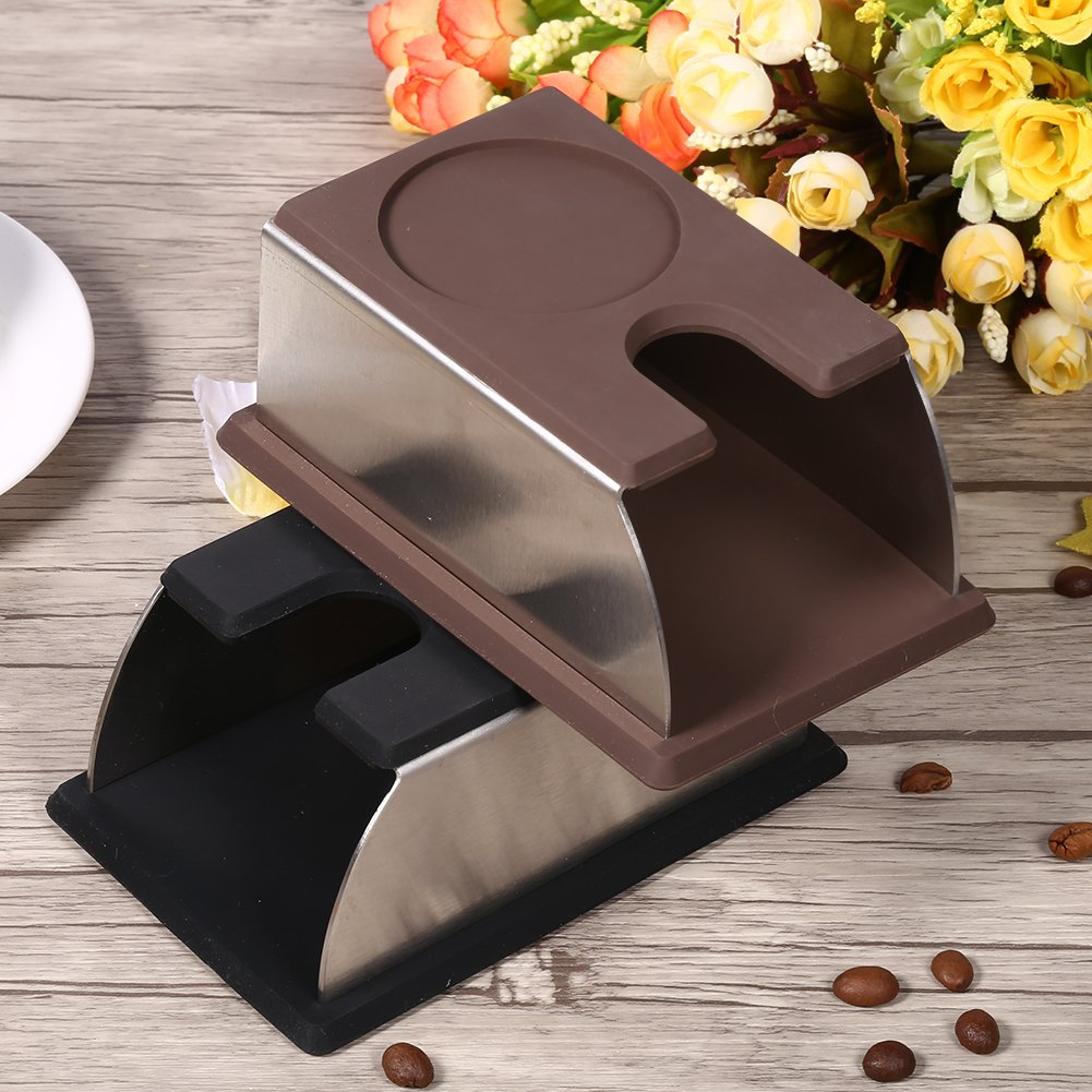 Black Fdit Coffee Powder Maker Stand Coffee Tamper Holder Rack Accessory Tool 2 Colors Stainless Steel+Silicone