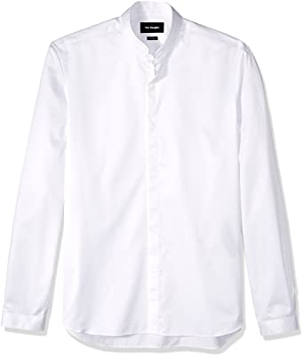 0ae0b88337 The Kooples Men's Plain Cotton Dress Shirt with a Stand-up Collar, White,