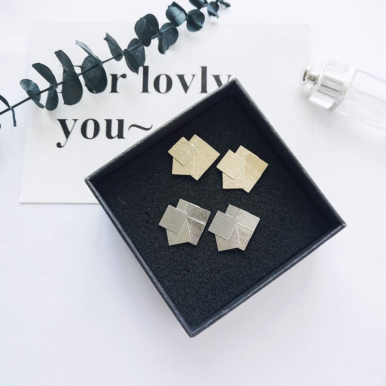 hdfhdfhd 2019 Exquisite Metal Square Copper Combination Stud Earrings Gold Earrings Statement Earring for Girls for Woman,Yin