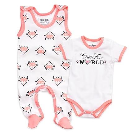 Nini Baby Set Body + Pelele niña blanco salmón | Diseño: Cute fox | con