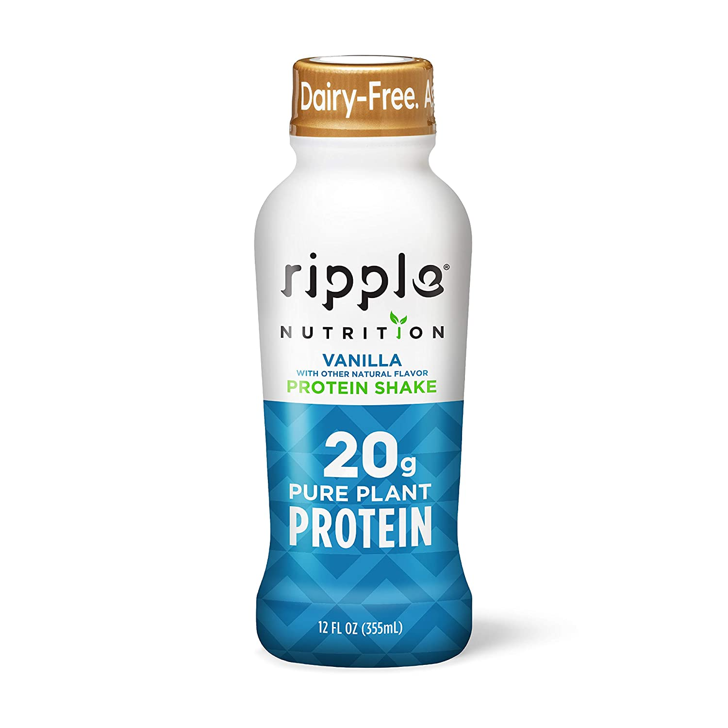 Ripple Vegan Protein Shake, Vanilla | 20g Nutritious Plant Based Pea Protein in Ready to Drink Bottles | Non-GMO, Non-Dairy, Soy Free, Gluten Free, Lactose Free | Shelf Stable |12 Fl Oz (12 Pack)