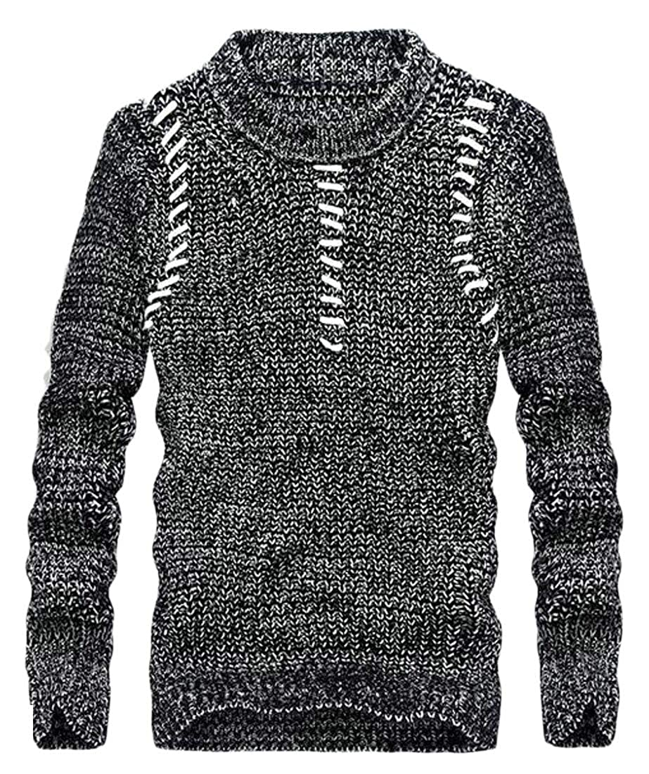 Etecredpow Mens Pullover Striped Classic Crewneck Long Sleeve Knitted Jumper Sweaters