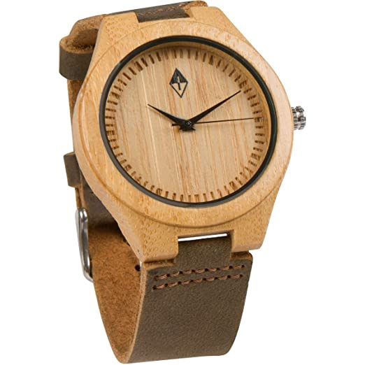 ca009cc21f1a Woodgrain Watches hombres Reloj de madera hecho a mano Bambú con cuero  marrón oscuro  Amazon.es  Relojes