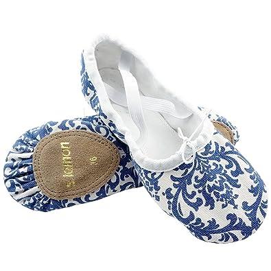 3148b1ae5b284 s.lemon Belle Bleu Blanc Chaussures De Ballet en Porcelaine Danse  Chaussures Ballet Pantoufles Filles