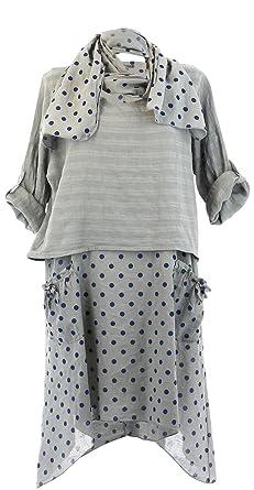 1e0c175d100a Charleselie94 - Robe Tunique + Foulard asymétrique Coton bohème été Gris  Pilou Gris