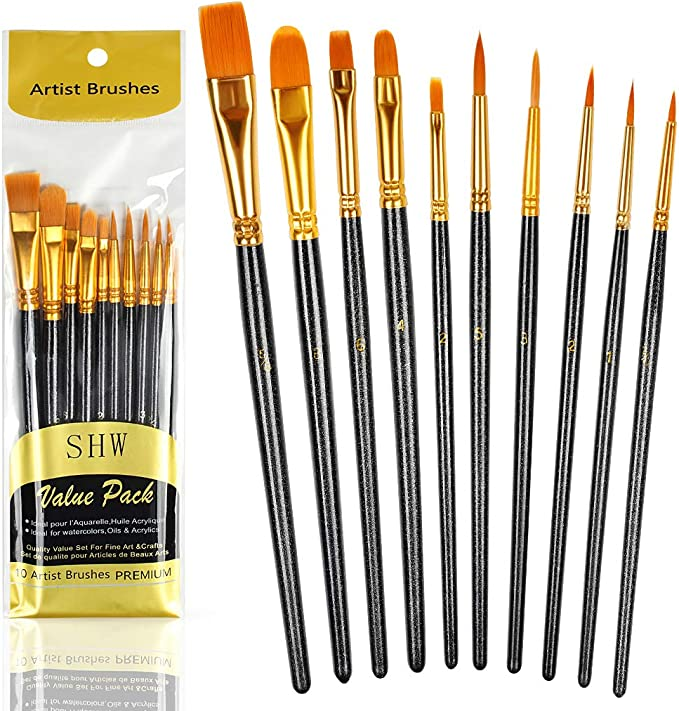10pcs Paint Brushes Set Nylon Hair Brush For Acrylic Painting Oil Painting Watercolor Painting Gouache Painting Face Painting Black Amazon Co Uk Kitchen Home