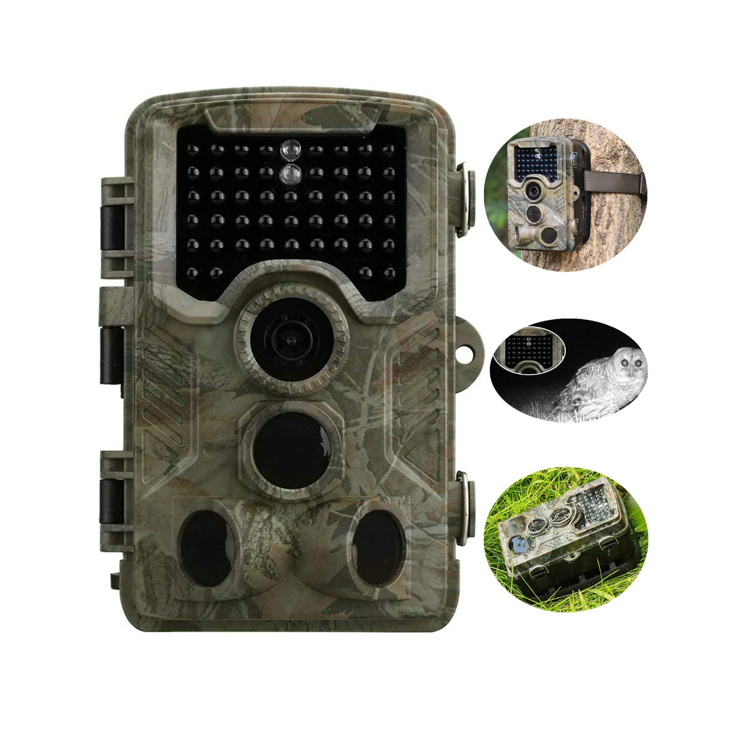 Trail Camera 1080P 12MP Wildlife Camera Motion Activated Night Vision 20m with 2.4'' LCD Display IP56 Waterproof Design for Wildlife Hunting and Home Security by MPNETDEAL
