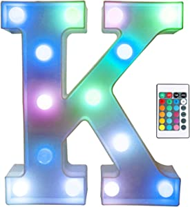 Colorful LED Marquee Letter Lights with Remote – Light Up Marquee Signs – Party Bar Letters with Lights Decorations for The Home - Multicolor K