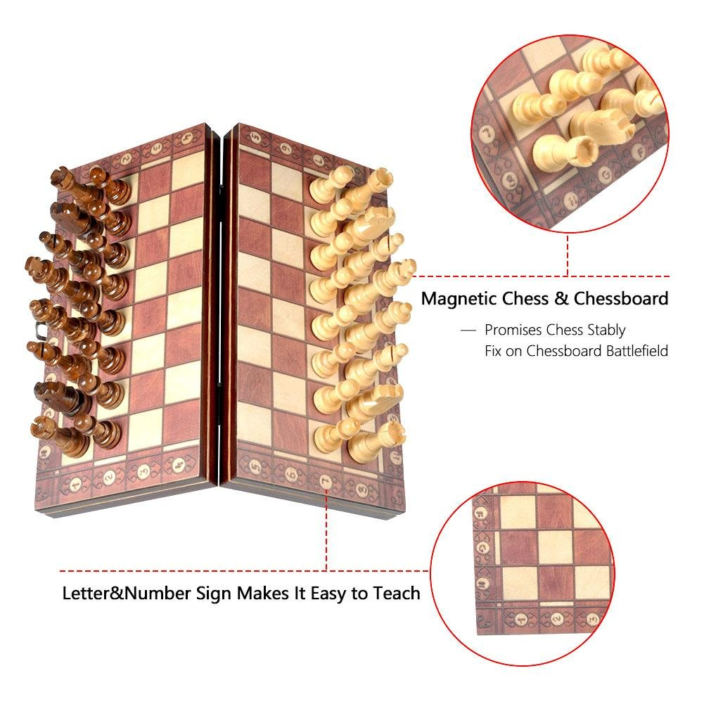 VGEBY Magnetic Travel Chess Set 3 in 1 Portable Folding Wooden Chess Game Board with Magnetic Pieces 9.5 X 9.5