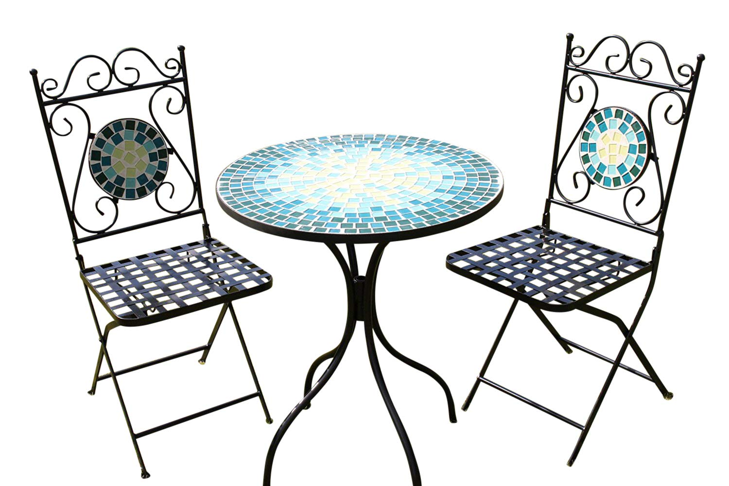 2 Seater 'Blue' Pattern Mosaic Bistro Patio Garden Set. Garden Market Place