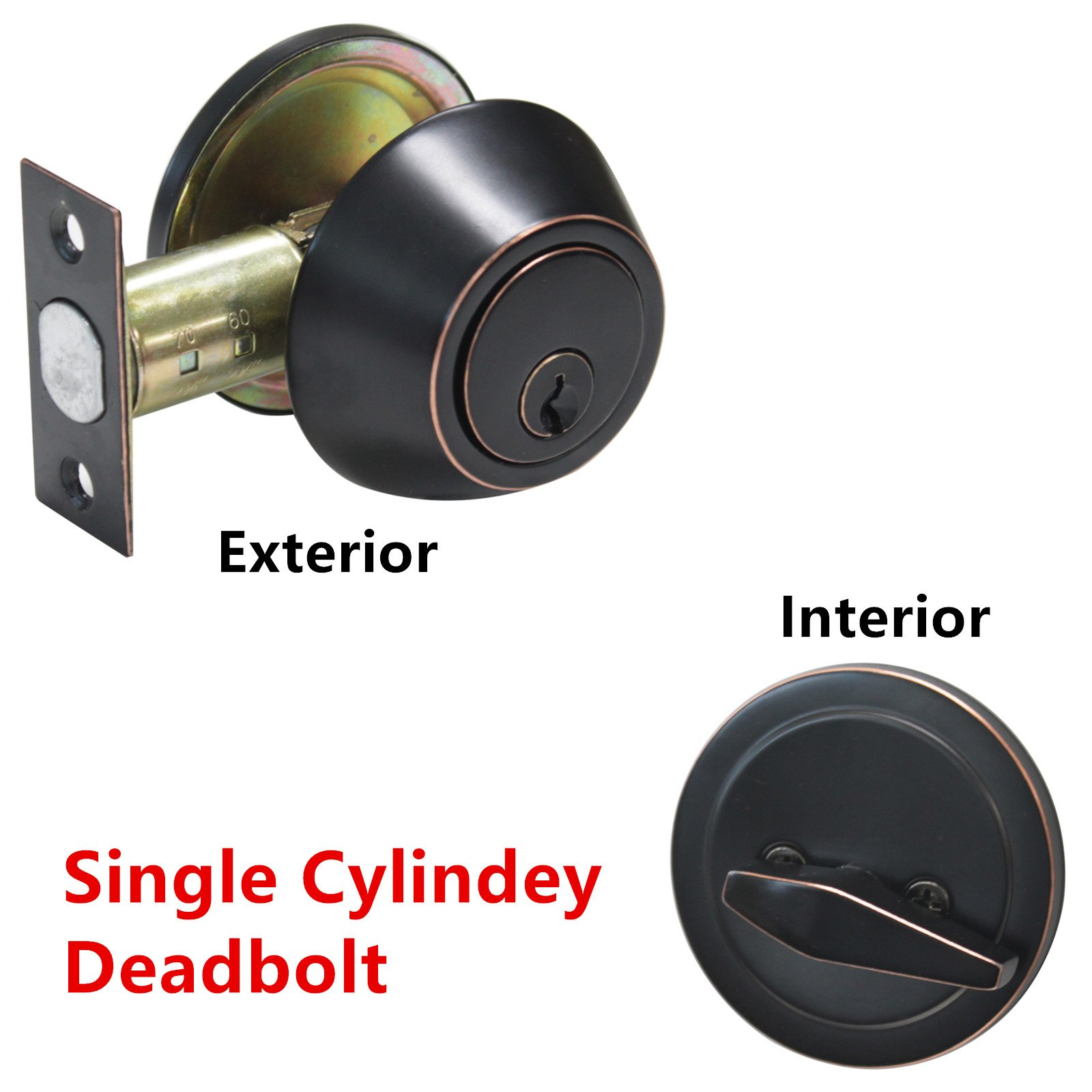1 Pack Single Cylinder Deadbolts Keyed Entry Door Latch;Oil Rubbed Bronze Door Hardware
