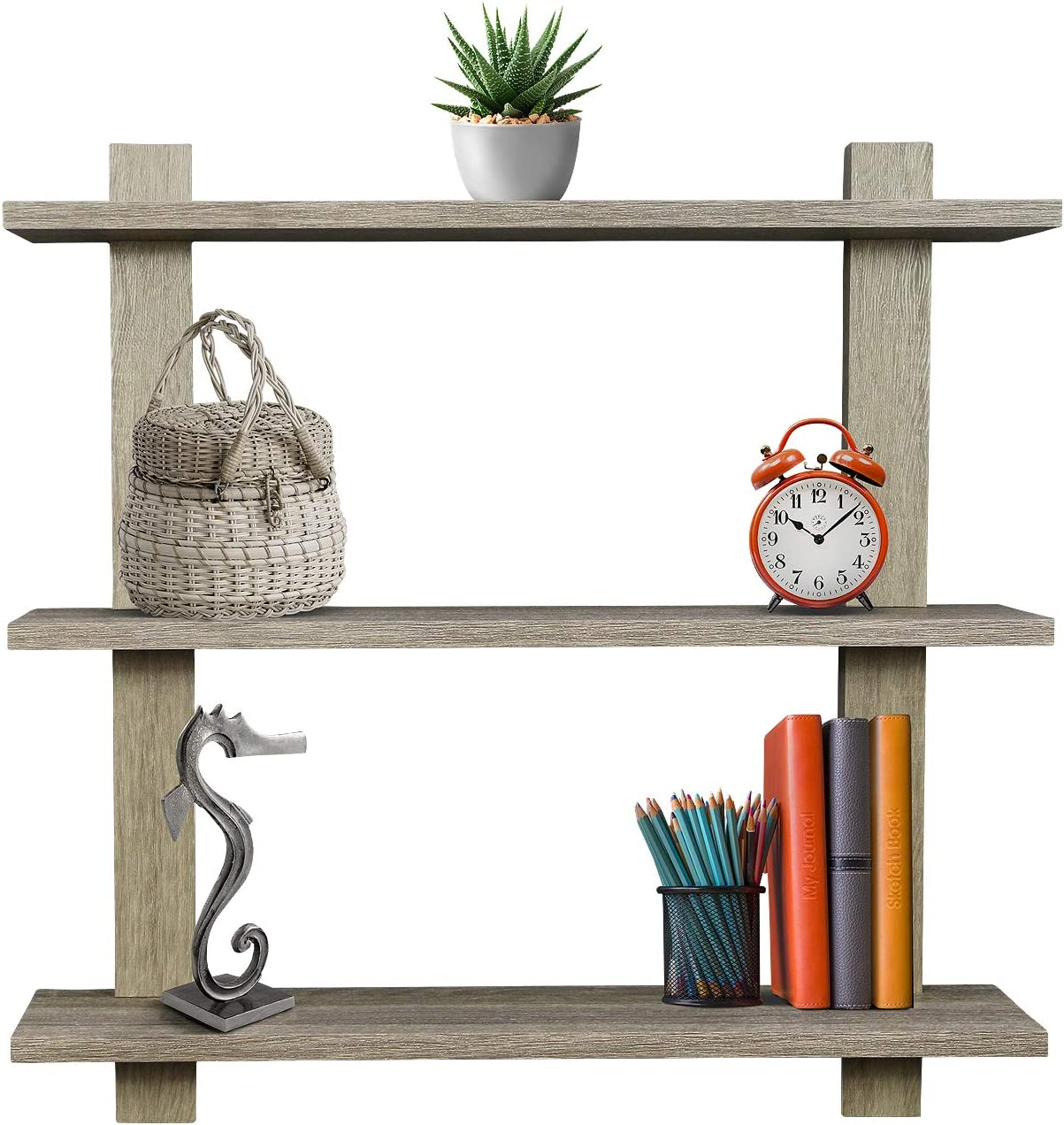 Sorbus Floating Shelf Asymmetric Square Wall Shelf, Decorative Hanging Display for Trophy, Photo Frames, Collectibles, and Much More, Set of 3 3-Tier Grey