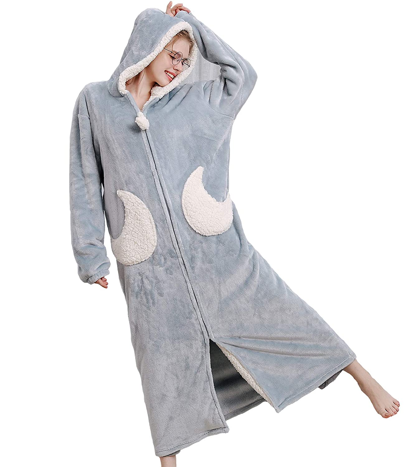 AUYUG Ladies Soft Luxurious Hooded Oversized Fleece Dressing Gown,Full Length Fluffy Winter Long Robe Plush Thicken Warm Housecoat Plus Size with Zipper for Women