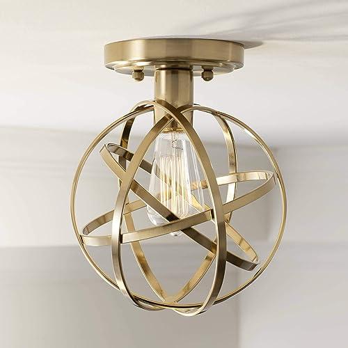 Industrial Atom Ceiling Light Semi Flush Mount Fixture LED Brass 8 Wide Open Cage for Bedroom Kitchen Living Room Hallway Bathroom – Franklin Iron Works