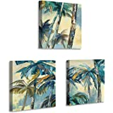 Seaside Coconut Palm Wall Art: Coastal Tropical Abstract Trees Artwork Reproduction Painting Print Canvas Pictures for Washroom (12'' x 12'' x 3 Panels)