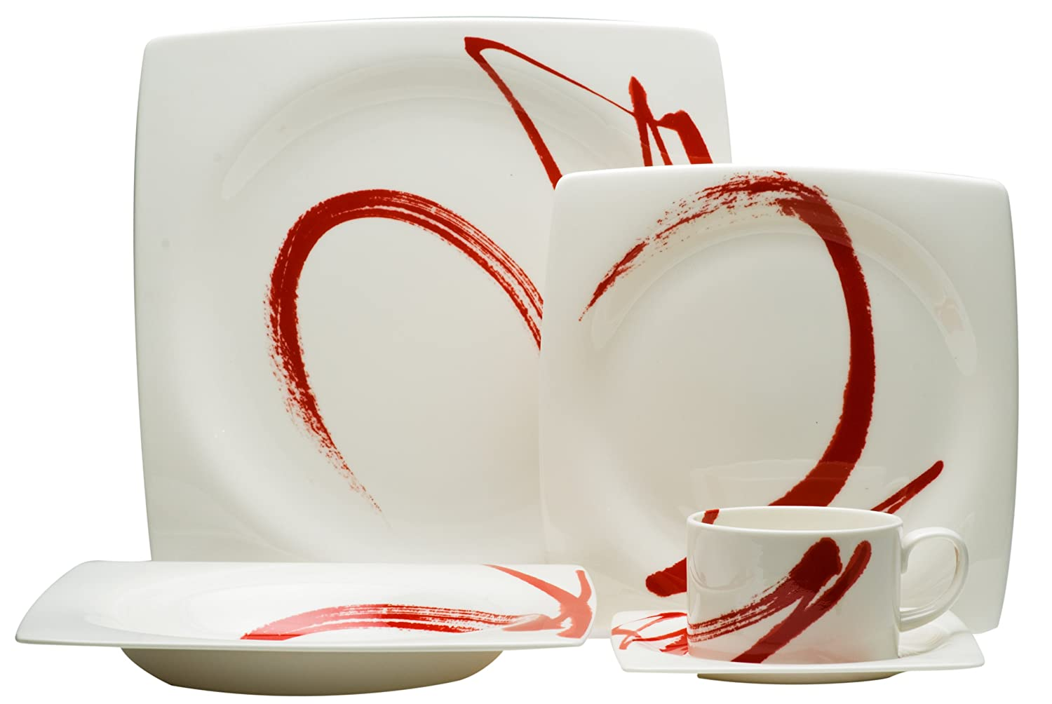 Amazon.com | Red Vanilla Paint It Red 5-Piece Dinnerware Set Red Square Dinnerware Set Dinnerware Sets  sc 1 st  Amazon.com & Amazon.com | Red Vanilla Paint It Red 5-Piece Dinnerware Set: Red ...