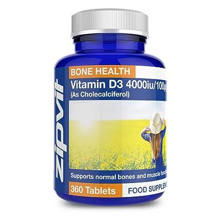 Vitamina D3 4000 IU | 360 comprimidos | La potencia más alta | Apto para vegetarianos
