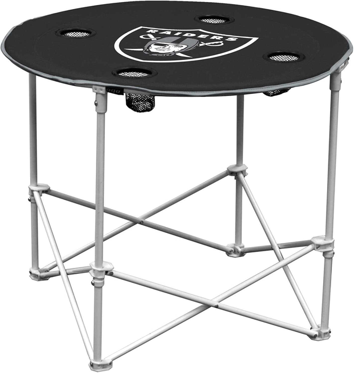 NFL Logo Brands Oakland Raiders Collapsible Round Table with 4 Cup Holders and Carry Bag, Team Color