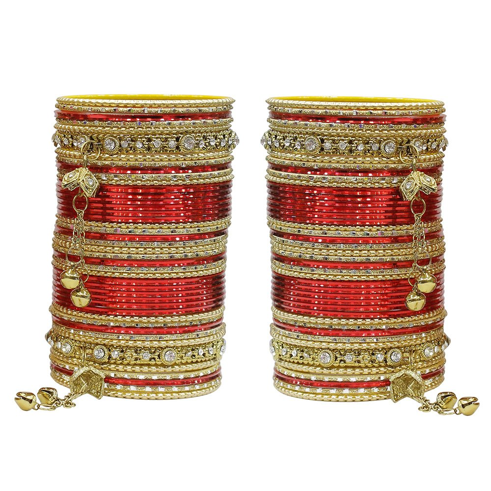 MUCH-MORE 86 Bangles Set Of Multi Colour Amazing collection Of Latkhan Bangles Set (Red, 2.8)