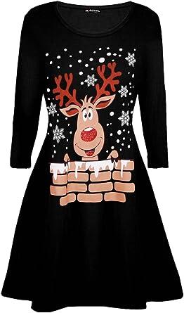 Kids Xmas Printed Swing Dresses Girls Santa on Wall Christmas Candy Stick Dress