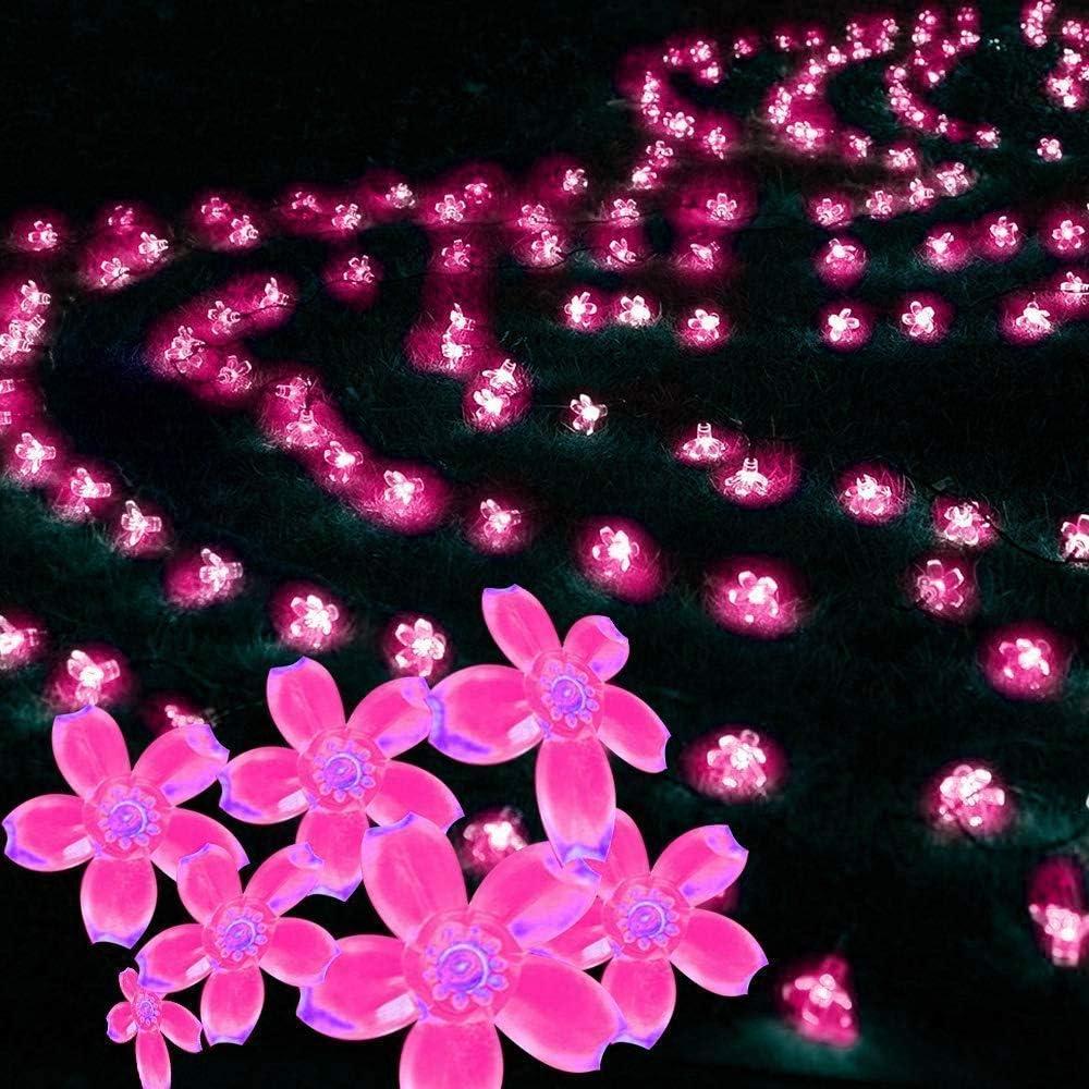 Bandes, Fleur solaire bandes Lumières, 7 m 50 LED solaire Guirlande lumineuse extérieure Fleur solaire éclairage étanche for jardin Jardinet (vert) lalay (Color : Cold White) Pink