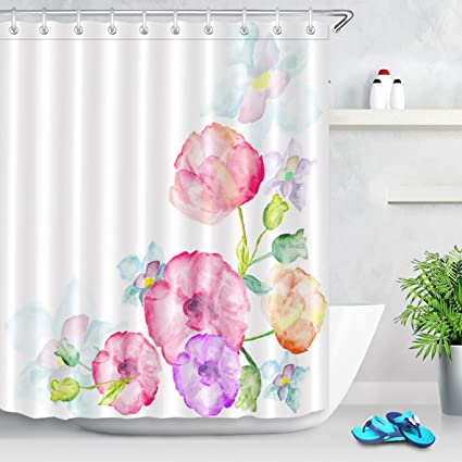 LB Watercolor Floral Shower Curtain Flowers For Bathroom Decor 72x72 Inch Polyester Fabric Bathtub With