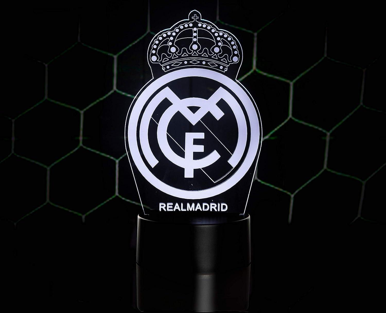3D LAMPARAS Oficial Escudo del Real Madrid CF Lámpara Original Accesorios de 2019-2020 y Mejor Regalo para Bebe niño Kids Hombre Mujer Mejor Decoracion