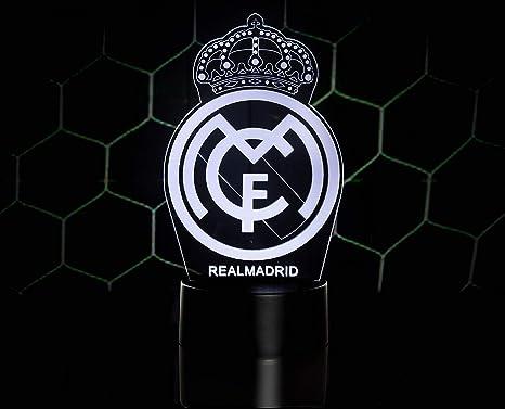 3D LAMPARAS Oficial Escudo del Real Madrid CF Lámpara Original Accesorios de 2019-2020 y Mejor Regalo para Bebe niño Kids Hombre Mujer Mejor ...