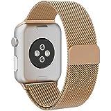 Grotech apple watch バンド アップルウォッチバンド ミラネーゼループ アップルウォッチ3 ステンレス留め金 apple watch series 4/3/2/1に対応 38mm 42mm size 42mm (ゴールド)