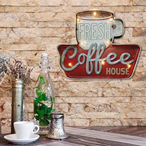 Arikit Coffee Bar Decor,Metal Wall Retro Tin Vintage Decor Signs,Industrial Style Light Up Sign,for Home,Bar,Kitchen or Cafe Wall Decoration–Battery Operated (Coffee)