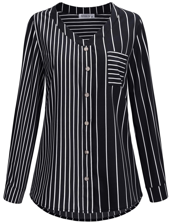 Moqivgi Dressy Tops For Women Black And White Striped Shirts Stylish