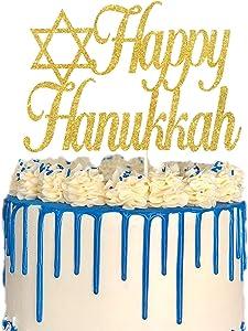 Gold Glitter Happy Hanukkah Cake Topper, Jewish Festival Cake Decor, Chanukah Holiday Party Decoration Supplies, Hanukkah Star of David Decor
