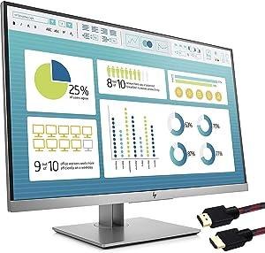 HP EliteDisplay E273 27 inch 4-Way adjustabile Monitor (1FH50A8#ABA) - (1920 x 1080) Full HD - (1x DisplayPort 1.2, 1x HDMI, 1x VGA, 3X USB 3.0) with HDMI Cable